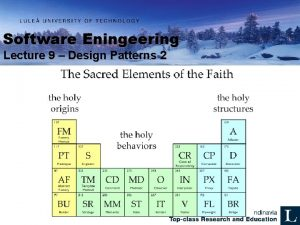 Software Eningeering Lecture 9 Design Patterns 2 Patterns