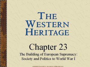 Chapter 23 The Building of European Supremacy Society