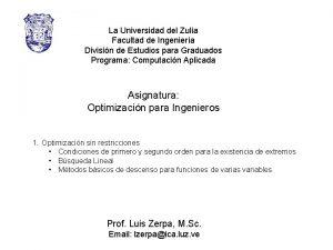La Universidad del Zulia Facultad de Ingeniera Divisin