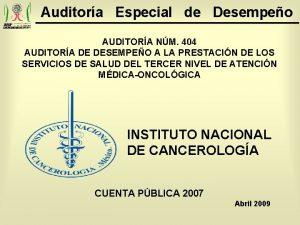 Auditora Especial de Desempeo AUDITORA NM 404 AUDITORA