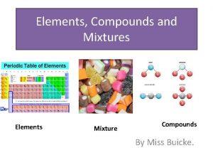 Elements Compounds and Mixtures Elements Mixture Compounds By