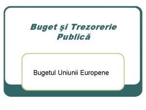 Buget i Trezorerie Public Bugetul Uniunii Europene Noutile