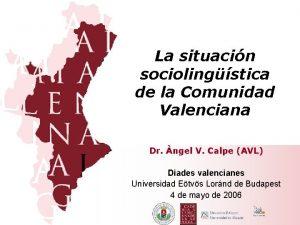 La situacin sociolingstica de la Comunidad Valenciana Dr
