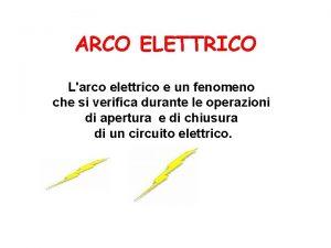 ARCO ELETTRICO Larco elettrico e un fenomeno che