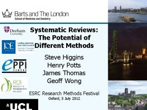 Systematic Reviews The Potential of Different Methods Steve