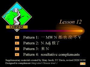 Lesson 12 Pattern 1 Pattern 2 Pattern 3