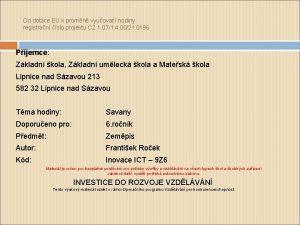 Od dotace EU k promn vyuovac hodiny registran