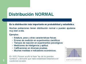 Distribucin NORMAL Es la distribucin ms importante en