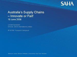 Australias Supply Chains Innovate or Fail 18 June