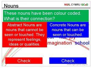 Nouns NGf L CYMRU GCa D These nouns