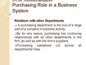 DPS 304 Procurement Management Purchasing Role in a