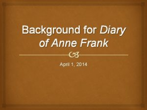Background for Diary of Anne Frank April 1