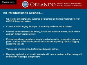 An introduction to Orlando Uptodate collaboratively authored biographical