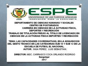 DEPARTAMENTO DE CIENCIAS HUMANAS Y SOCIALES CENTRO DE
