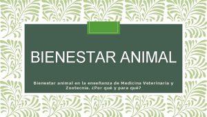 BIENESTAR ANIMAL Bienestar animal en la enseanza de