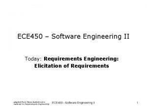 ECE 450 Software Engineering II Today Requirements Engineering