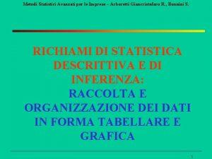 Metodi Statistici Avanzati per le Imprese Arboretti Giancristofaro