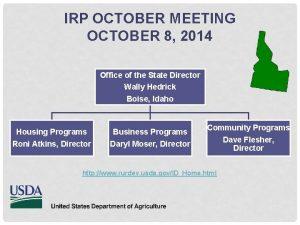 IRP OCTOBER MEETING OCTOBER 8 2014 Office of