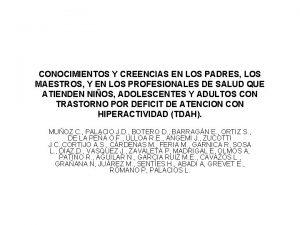 CONOCIMIENTOS Y CREENCIAS EN LOS PADRES LOS MAESTROS