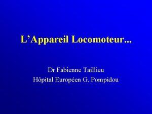 LAppareil Locomoteur Dr Fabienne Taillieu Hpital Europen G