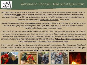 Welcome to Troop 67 New Scout Quick Start