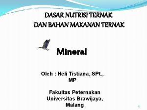 DASAR NUTRISI TERNAK DAN BAHAN MAKANAN TERNAK Mineral