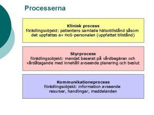 Processerna Klinisk process frdlingsobjekt patientens samlade hlsotillstnd ssom