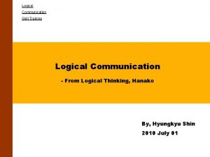 Logical Communication Skill Training Logical Communication From Logical