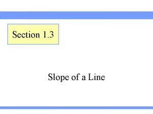Section 1 3 Slope of a Line Introduction