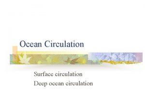 Ocean Circulation Surface circulation Deep ocean circulation Surface