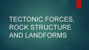 TECTONIC FORCES ROCK STRUCTURE AND LANDFORMS Tectonic forces