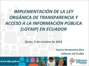 IMPLEMENTACIN DE LA LEY ORGNICA DE TRANSPARENCIA Y