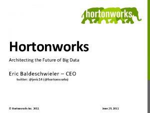 Hortonworks Architecting the Future of Big Data Eric