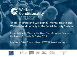 Work Welfare and Wellbeing Mental Health and Welfare