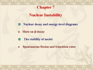 Chapter 7 Nuclear Instability Nuclear decay and energylevel