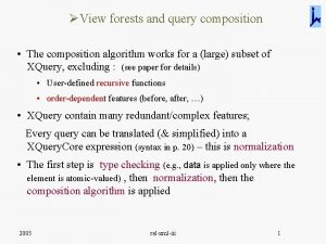 View forests and query composition The composition algorithm