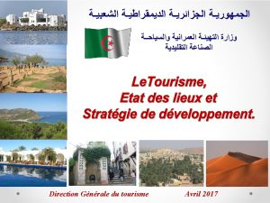 Sommaire Introduction tat des lieux du tourisme en