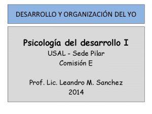 DESARROLLO Y ORGANIZACIN DEL YO Psicologa del desarrollo
