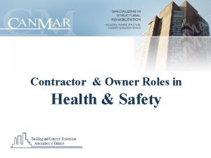 Contractor Owner Roles in Health Safety Safety Topics