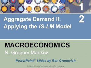 Aggregate Demand II Applying the ISLM Model MACROECONOMICS
