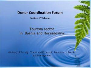Donor Coordination Forum Sarajevo 6 th February Ministry