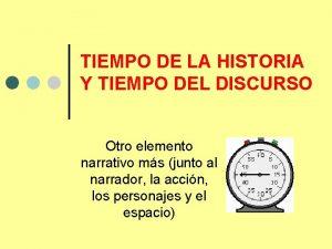 TIEMPO DE LA HISTORIA Y TIEMPO DEL DISCURSO