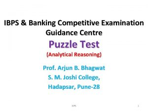 IBPS Banking Competitive Examination Guidance Centre Puzzle Test
