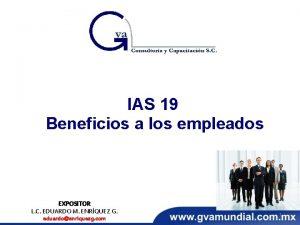 IAS 19 Beneficios a los empleados EXPOSITOR L