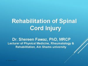 Rehabilitation of Spinal Cord Injury Dr Shereen Fawaz