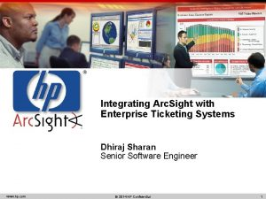 Integrating Arc Sight with Enterprise Ticketing Systems Dhiraj