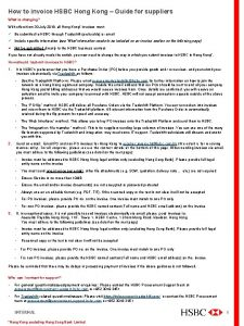 How to invoice HSBC Hong Kong Guide for
