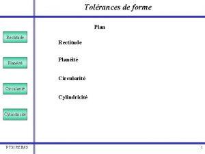 Tolrances de forme Plan Rectitude Planit Circularit Cylindricit