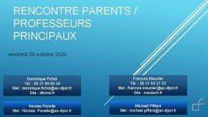 RENCONTRE PARENTS PROFESSEURS PRINCIPAUX vendredi 30 octobre 2020