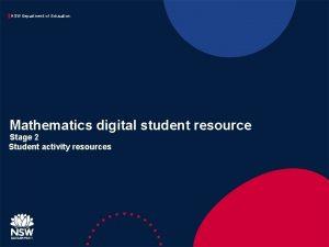 NSW Department of Education Mathematics digital student resource